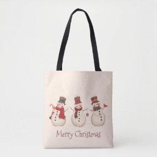 Vintage Classic Snowmen Christmas Tote Bag