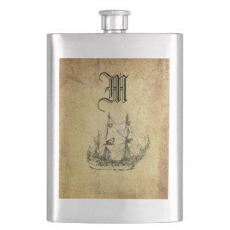 Vintage classy ancient ship monogram hip flask