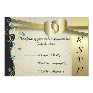 Vintage Classy Gold Heart Wedding Collection 9 Cm X 13 Cm Invitation Card