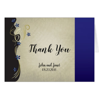 Vintage Classy Gold Heart with Sapphire Flowers Card