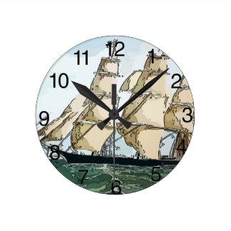 Vintage Clipper Ship Round Clock