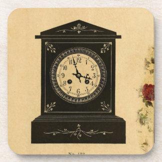 Vintage Clock Advertisement Beverage Coasters