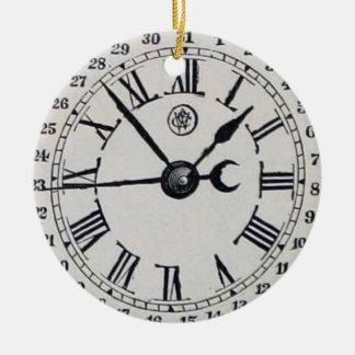 Vintage Clock Face Moon Phase Round Ceramic Decoration
