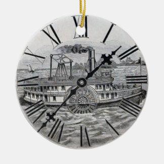 Vintage Clock Face Riverboat Round Ceramic Decoration