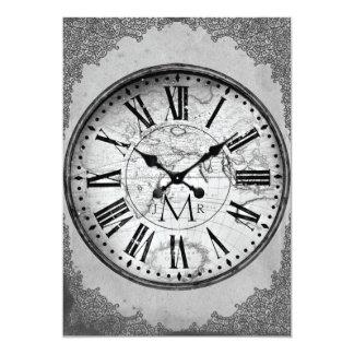 Vintage Clock on Paper 1st Wedding Anniversary Card