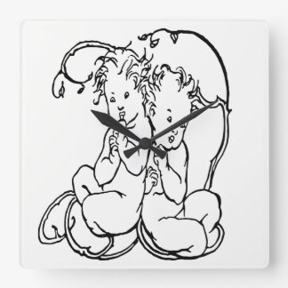 Vintage Clock Twin Cherubs Black and White