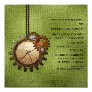 Vintage Clock Wedding Invitation, Green 13 Cm X 13 Cm Square Invitation Card
