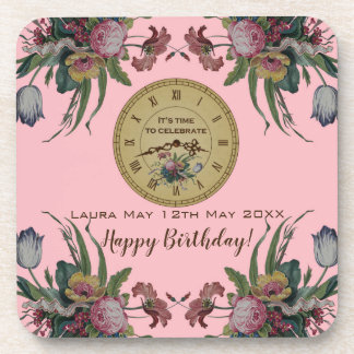 Vintage Clock with Flowers Birthday Party Coaster