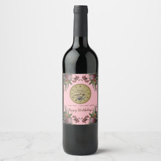 Vintage Clock with Flowers Birthday Party Wine Label