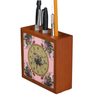 Vintage Clock with Flowers Desk Organiser