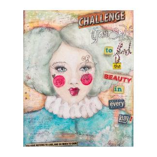 Vintage Clown Girl Pastel Mixed Media Collage Art