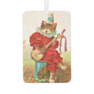 Vintage Clown Jester Musician Cat Mandolin