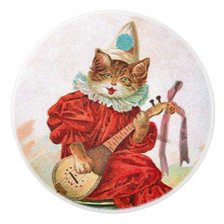 Vintage Clown Jester Musician Cat Mandolin Ceramic Knob