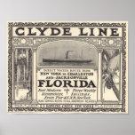 Vintage Clyde Line Florida Steamship Ad Poster