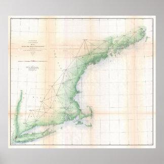 Vintage Coastal Map of New England (1864) Poster