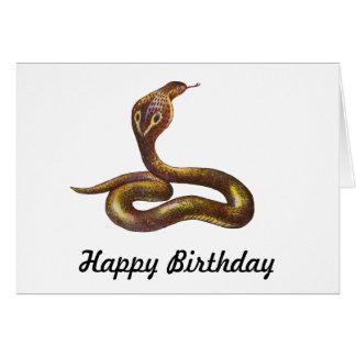 Vintage Cobra Snake Illustration Greeting Card