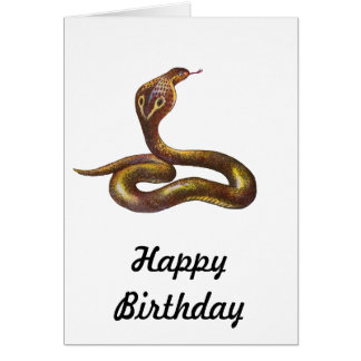 Vintage Cobra Snake Illustration Card