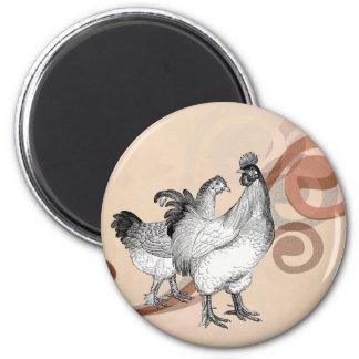 Vintage Cochin Chickens 6 Cm Round Magnet