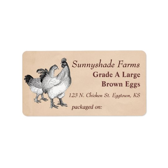 Vintage cochin chickens egg carton label for Egg carton labels template