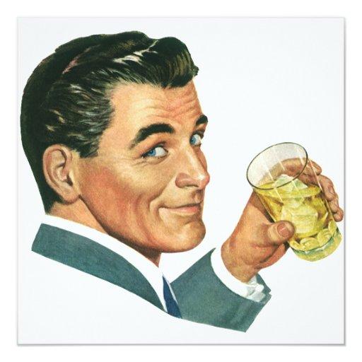 Vintage Cocktails Beverages, Man Drinking Drinks 13 Cm X 13 Cm Square Invitation Card
