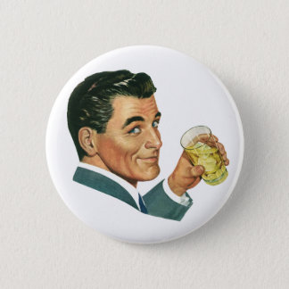 Vintage Cocktails Beverages, Man Drinking Drinks 6 Cm Round Badge