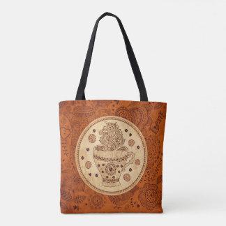 Vintage Coffee And Flowers Illustration Tote Bag