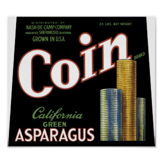 Vintage Coin Asparagus Crate Label Print