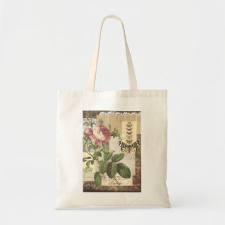 Vintage Collage in brown Magazine Tote Budget Tote Bag