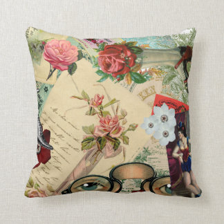 Vintage Collage with Roses and Spectacles Cushion