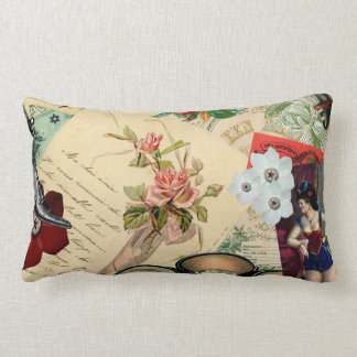Vintage Collage with Roses and Spectacles Lumbar Cushion