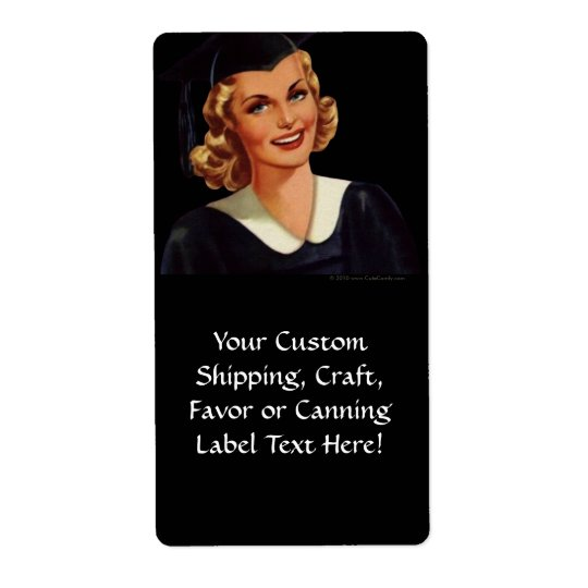 Vintage College Co-Ed Graduation Woman Shipping Label