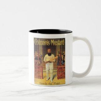 Vintage Colman's Mustard Heads the Field Cricket A Two-Tone Coffee Mug