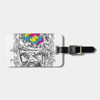 vintage color brains luggage tag