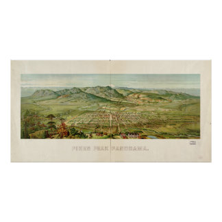 Vintage Colorado Springs and Pikes Peak Map (1890) Poster