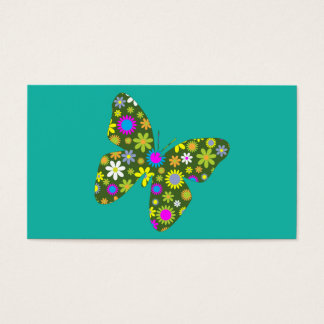 Vintage colorful butterfly business card