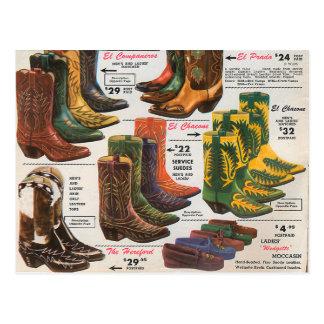 Vintage Colorful Cowboy Boots & Moccasins Postcard