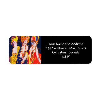 Vintage Colorful Deco Women with Jewelry Return Address Label
