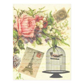 Vintage Colorful Floral Paris Postage Postcard