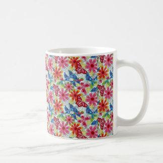 Vintage Colorful Flowers Butterflies Funky Design Basic White Mug
