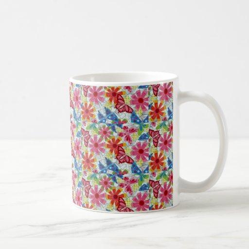 Vintage Colorful Flowers Butterflies Funky Design Mugs