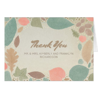 Vintage Colorful Leaf Gold Fall Wedding Thank You Note Card