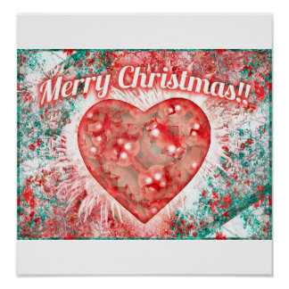 Vintage Colorful Merry Christmas Design Posters