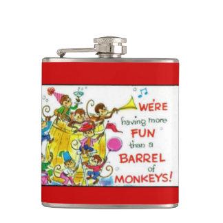 Vintage Colorful More Fun Barrel of Monkeys Hip Flask