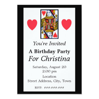 Vintage Colorful Ornate Queen of Hearts Birthday 11 Cm X 16 Cm Invitation Card