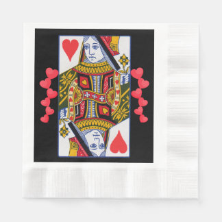 Vintage Colorful Ornate Queen With Hearts Paper Serviettes
