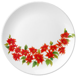 Vintage Colorful Red Poinsettia Porcelain Plate
