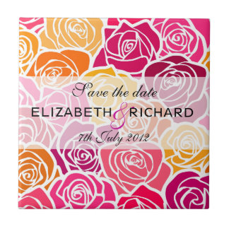 Vintage colorful roses Save the date Tile