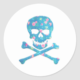 Vintage Colorful Skull With Pink And Blue Flowers Round Sticker