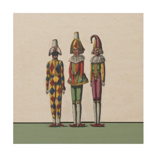 Vintage Colorful Whimsical Three Jester Dolls Wood Canvas