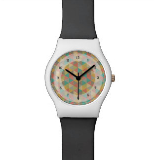 Vintage Colourful Geometric Triangles, for Teens Watch